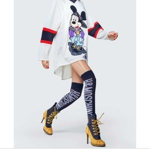 BLACK WITH WHITE H&MOSCHINO LOGO KNEE SOCKS